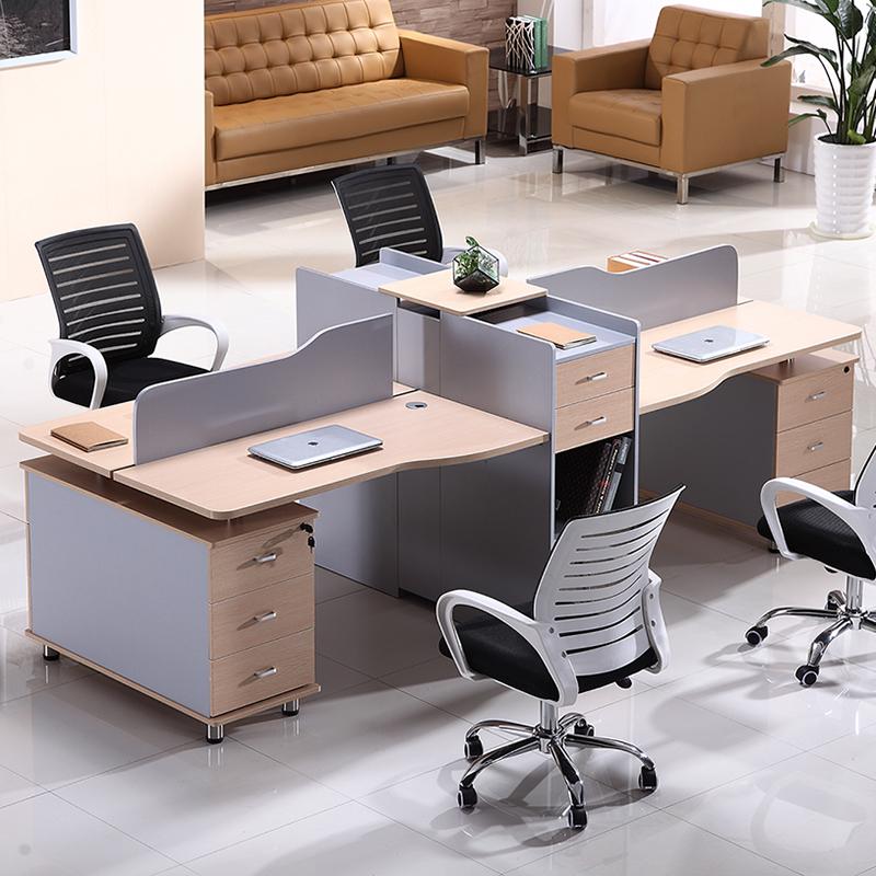 现代简约天津办公家具屏风职员办公桌椅组合卡座员工4人位电脑桌